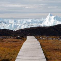 Wandelroute naar de Jacobshavn gletsjer bij Ilussiat, Groenland