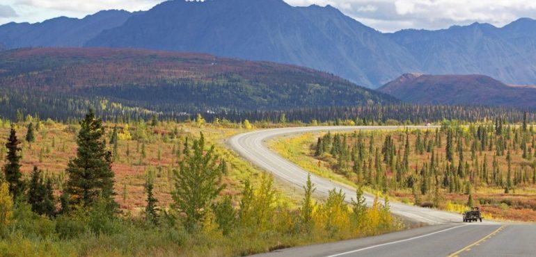 De weg bij Denali, Alaska