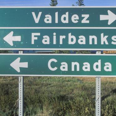 Wegwijsbord, Valdez, Fairbanks, Canada, Alaska